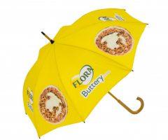 Paraguas publicidad mango curvo madera