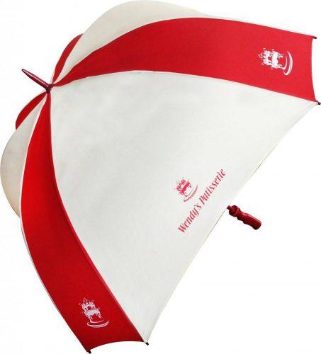 Paraguas personalizado octogonal blanco rojo