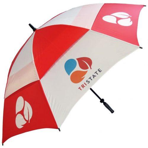 Paraguas Golf antiviento bicolor rojo blanco