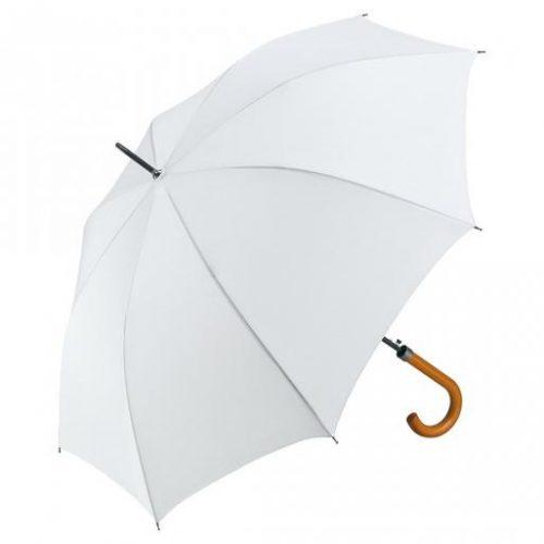 Paraguas personalizado automatico mango curvo madera blanco