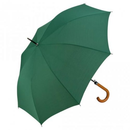 Paraguas personalizado automatico mango curvo madera verde