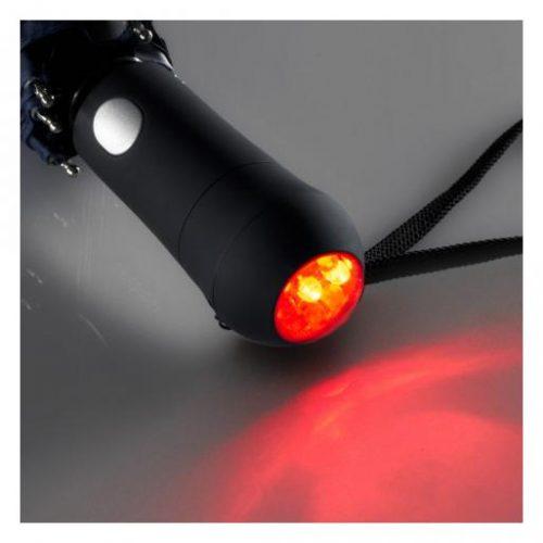 Paraguas plegable personalizado reflectante con luz LED roja intermitente