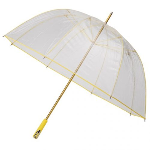 Paraguas transparente PVC personalizado color amarillo