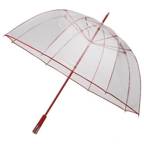 Paraguas transparente PVC personalizado color rojo