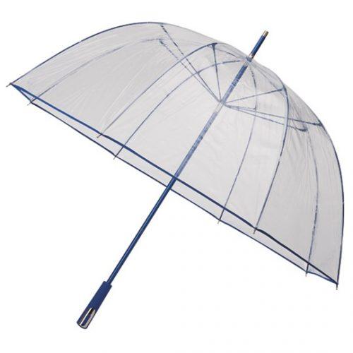 Paraguas transparente PVC personalizado color azul