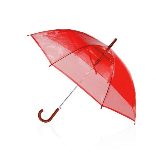 Paraguas transparente barato automatico rojo