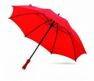 Paraguas personalizado con funda bandolera rojo