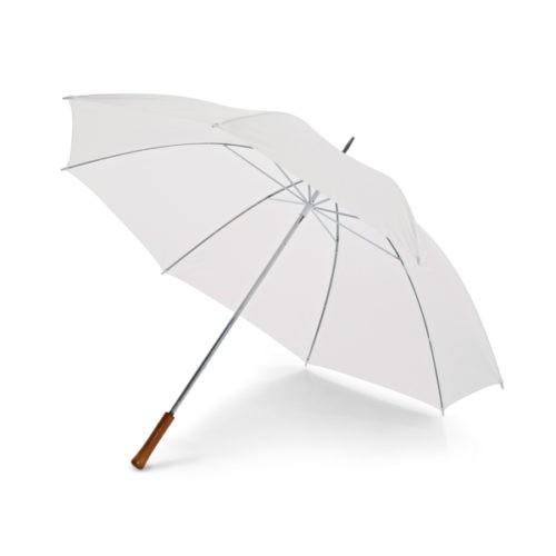 Paraguas barato tamaño golf con mango de madera blanco