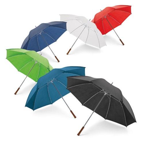 Paraguas barato tamaño golf con mango de madera colores