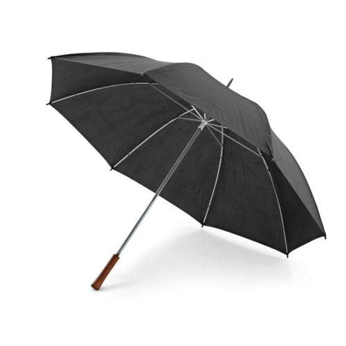 Paraguas barato tamaño golf con mango de madera negro