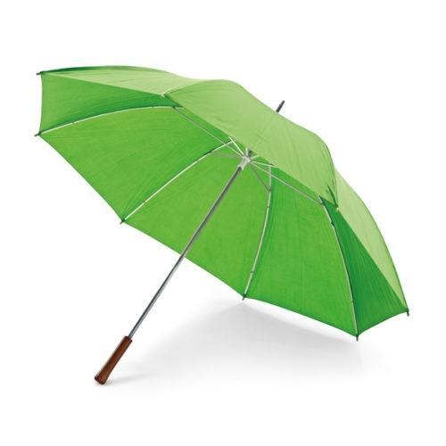 Paraguas barato tamaño golf con mango de madera verde