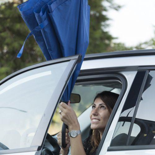 Paraguas personalizado reversible ergonomico azul