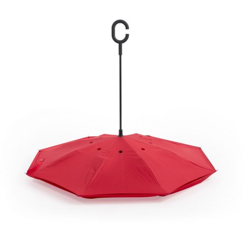 Paraguas personalizado reversible ergonomico rojo semiabierto