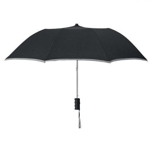 Paraguas plegable reflectante negro abierto