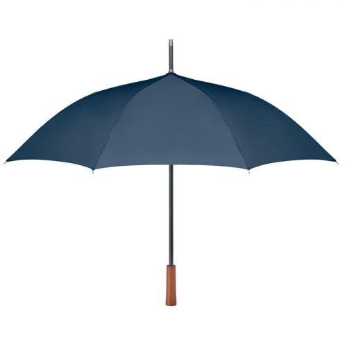 Paraguas ecologico personalizado mango madera azul marino