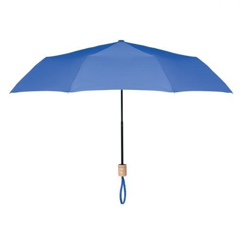 Paraguas ecologico plegable mango madera azul