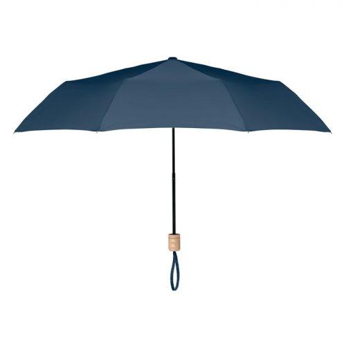 Paraguas ecologico plegable mango madera azul marino