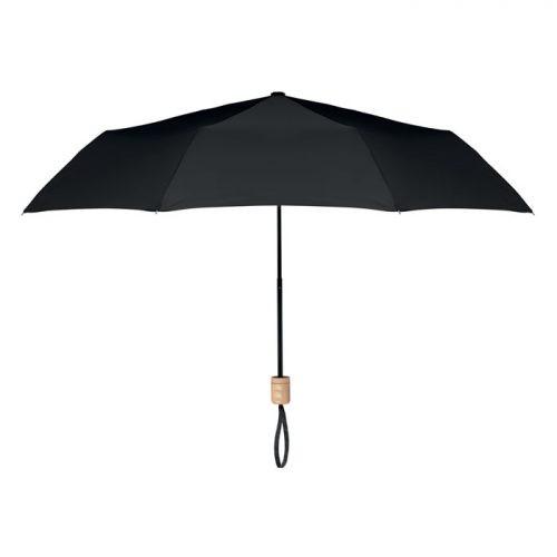 Paraguas ecologico plegable mango madera negro
