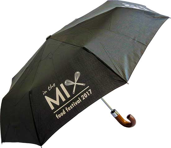 Paraguas personalizado plegable mango madera abierto