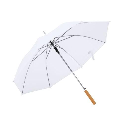 Paraguas automatico mango madera blanco