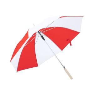 Paraguas combinado rojo y blanco