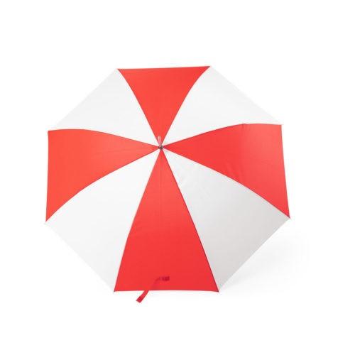Paraguas combinado rojo y blanco abierto