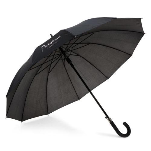 Paraguas automático negro de 12 paneles con logo