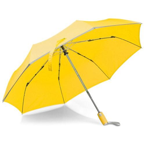 Paraguas plegable amarillo con borde reflectante