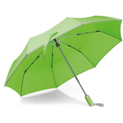 Paraguas plegable verde lima con borde reflectante
