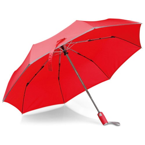 Paraguas plegable rojo con borde reflectante